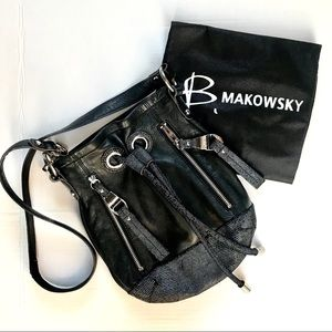 B. Makowsky Black Leather Shoulder/Crossbody Purse